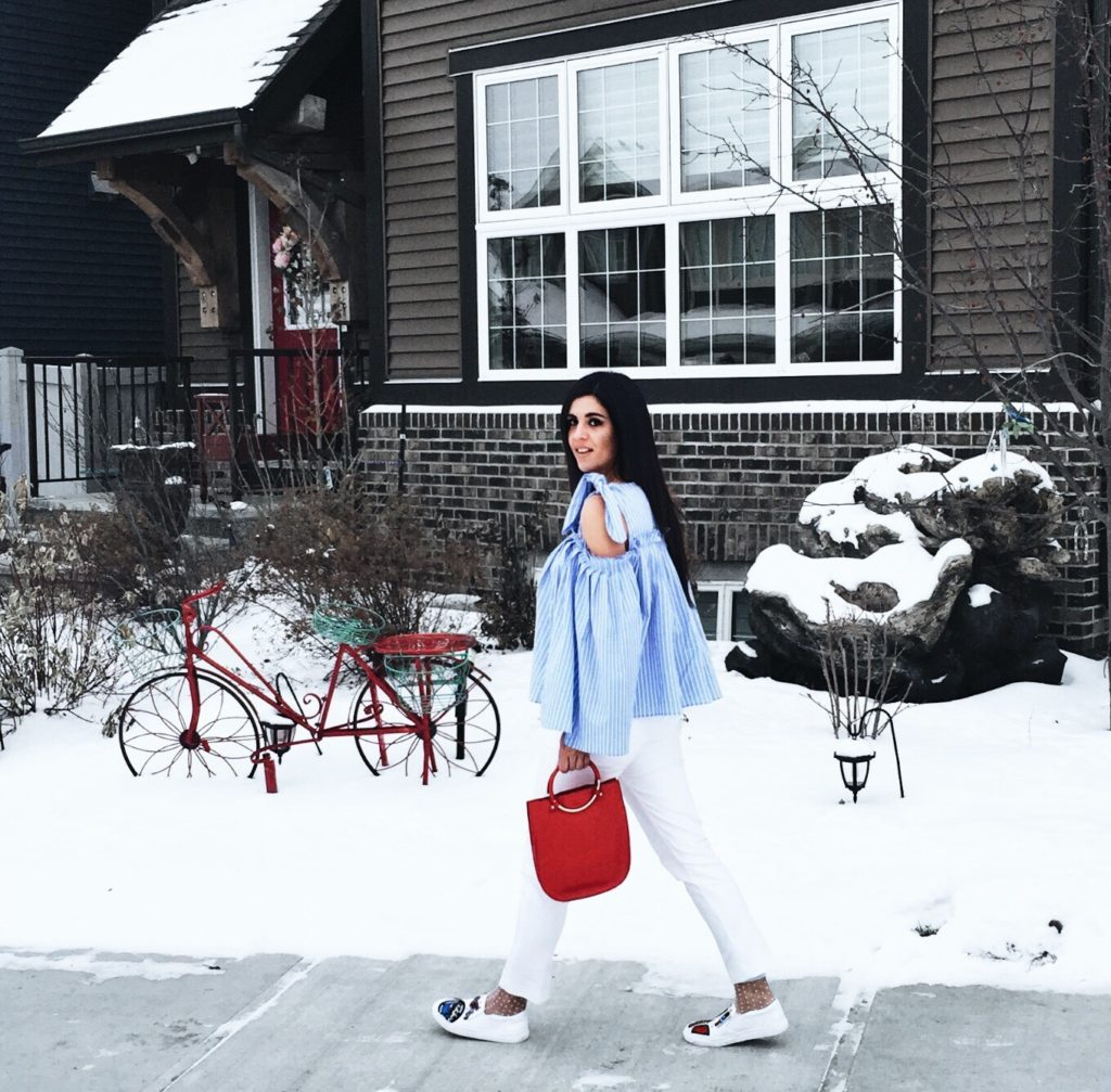 Riva Fashion, cold shoulder, white pants, sneakers